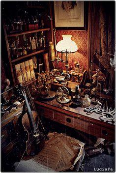 Sherlock Holmes (by cerrado_por_derribo) Interior Exterior, Interior Design, Mode Steampunk, Cabinet Of Curiosities, Sherlock Holmes, Architecture, Future House, Decoration, Sweet Home