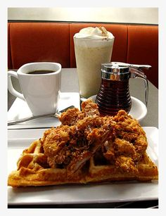Austin: chicken and waffles and roasted banana and brown sugar shake Roasted Banana, Chicken And Waffles, Brown Sugar, Shake, Cravings, Restaurants, Sweet Home, Dreams, Eat