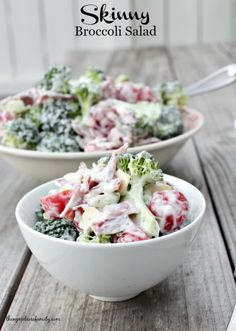 Skinny Broccoli Salad requires absolutely no cooking and it is just as delicious as your grandma's broccoli salad.  All we did was lighten it up.  The flavor it still just as amazing.