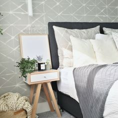 Gorgeous Scandi look bedroom in grey and white muted tones. Grey And White, Throw Pillows, Bedroom, Home, Cushions, Decorative Pillows, Bedrooms, Ad Home, Homes