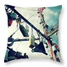 Where the Fishermen Eat Throw Pillow by Micki Findlay - TheSingingPhotographer.com - various sizes, home decor, cushion, newport, oregon coast, buoys, nautical, turquoise, restaurant, old town, beach decor