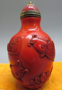 Red Peking Glass Carved Snuff Bottle - Fish & Lotus Flo