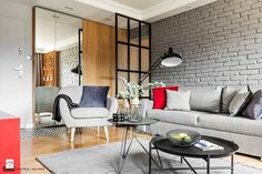 Mieszkanie z czerwonym akcentem - Salon, styl industrialny - zdjęcie od SAS Wnętrza i Kuchnie