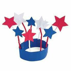 DYI 4th of July stars/fireworks hat... use pipe cleaners to hold the starts up