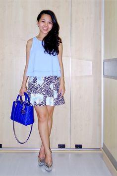 LADY DIOR bag | TOPSHOP top | ZARA printed skirt | CHARLES AND KEITH pointed platforms