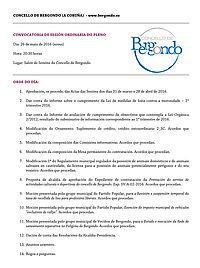 Convocatoria Pleno ordinario. 26 de maio: Concello Bergondo
