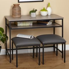 Simple Living 3pc Seneca Console Table and Stool Set | Overstock.com Shopping - The Best Deals on Coffee, Sofa & End Tables