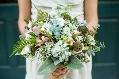 mint green white beige blue forest whimsical woodsy inspired wedding bouquet utah wedding flowers calie rose