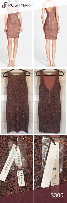 "Alice & Olivia Kimber Sequined Dress Beautiful Brand New with tags, bought to wear to a wedding but went with a different dress instead...39"" shoulder to hem Alice + Olivia Dresses Midi"