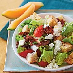 Think of this hearty tossed salad as a deconstructed BLT sandwich, where the bread appears in the form of croutons.