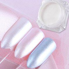 1 Box Diamond Pearl Mermaid Powder 1.5g Shining White Nail Art Glitter Powder Dust DIY Nail Decoration Pigment