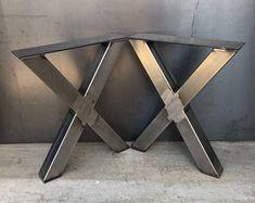 jambe de forme en acier 2 x 2 X, lot de 2, pied de table métal, pied de table industrielle, x jambe de banc de forme, x jambe de table basse de forme, jambe de table basse en métal