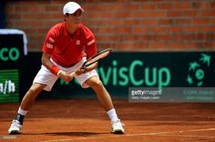 Kei Nishikori of Japan in action during the Davis Cup World Group Play-off singles match between Santiago Giraldo of Colombia and Kei Nishikori of Japan at Club Campestre on September 20, 2015 in Pereira, Colombia.