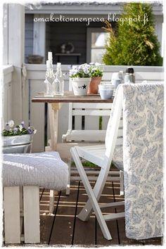Ib Laursen peitto, Terassin sisustus, Greengate, maalaisromanttinen koti, sisustaminen ulkona