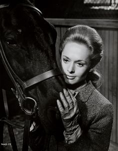 Tippi Hedren as Marnie in Marnie :) with her horse.