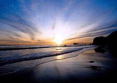 Sunset Photograph, Beach landscape decor, dark blue, Carpenteria California, Beach Decor, Nautical, Ocean, Sea, Sunset