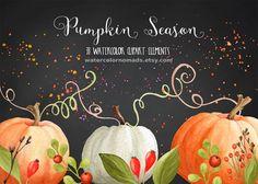 Pumpkin clipart, Autumn clipart, Thanksgiving clipart,  halloween clipart, Sweet Briar, digital clipart, fall clipart, watercolor clipart