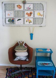 repurposed window for decor in a child's room.