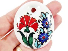 OOAK Large Hand painted Turkish Cini Ceramic by LylaSupplies, $10.00 Ceramic Pendant, Ceramic Jewelry, Glazes For Pottery, Glazed Pottery, Grenade, Turkish Tiles, Artsy Fartsy, Art Drawings, Clay