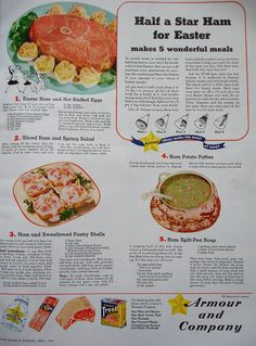 Make Five Terrifying Meals From One Armour Ham!  (Better Homes and Gardens, 1943)