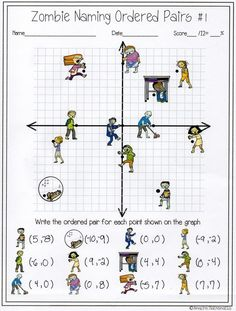 My Math students will love this zombie naming ordered pairs activity! Its the perfect way to practice coordinate graphing and plotting points on the x & y axis! Math Teacher, Math Classroom, Teaching Math, Math Resources, Math Activities, 7th Grade Math, Homeschool Math, Fun Math, Worksheets