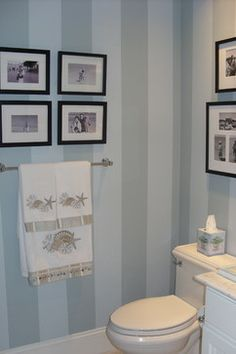Striped Bathroom Wall The Blue Stripe Is Wedge Wood Gray By Ben Moore And