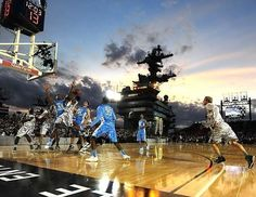 North Carolina and Michigan State kicked off the 2011 college basketball season aboard the USS Carl Vinson off the coast of San Diego. The Tar Heels triumphed, 67-55.Photo: John W. McDonough
