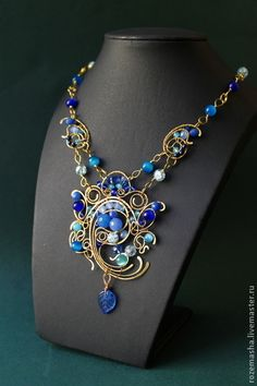 Колье Jamilya - синий,голубой,колье,комплект,подарок,витое,фэнтезийное