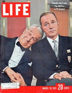 """1961 LIFE MAGAZINE vintage magazine cover """"Chevalier and Crosby"""" ~ Two Old Pros in TV Songfest ... March 10, 1961 ~"""