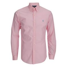 Polo Ralph Lauren Men's Long Sleeve Button Down Shirt - Pink ($120) ❤ liked on Polyvore featuring men's fashion, men's clothing, men's shirts, men's casual shirts, pink, mens button up shirts, mens casual long sleeve button down shirts, mens polo shirts, mens long sleeve button up shirts and mens pink shirt