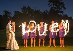 night wedding ideas:  love sparkler photo