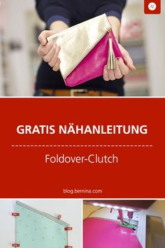 Fold-Over Leder-Clutch Tutorial Free sewing instructions for a leather foldover clutch Foldover Clutch, Leather Clutch, Clutch Bag, Crossbody Bag, Leather Bags, Clutch Tutorial, Sewing Tutorials, Sewing Projects, Sewing Patterns
