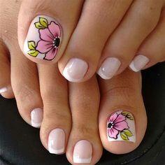 Spring Nail Art, Nail Designs Spring, Toe Nail Designs, Spring Nails, French Pedicure Designs, Spring Art, Pretty Toe Nails, Cute Toe Nails, Fun Nails