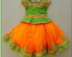 Designer Kids dress for age 12 months to 24 months Traditional Indian costume For birthdays and weddings and Indian traditional functions Maggam worked silk blouse Soft net lehanga Kids Party Wear Dresses, Kids Dress Wear, Kids Gown, Dresses Kids Girl, Girl Outfits, Baby Dresses, Kids Wear, Birthday Dresses, Baby Girl Dress Patterns