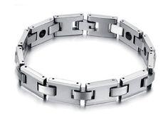KATGI Tungsten Steel Brazil Hematite Steel Magnetic Energy Black Stone Therapy Bracelet (Men & Women)