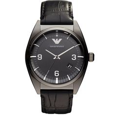 Shop for Emporio Armani Men's 'Classic' Black Leather Watch. Get free delivery On EVERYTHING* Overstock - Your Online Watches Store! Big Watches, Gents Watches, Best Watches For Men, Wrist Watches, Seiko, Rolex, Emporio Armani Mens Watches, Mens Designer Watches, Black Leather Watch