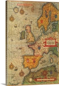 This is an old European map. Europe is where the renaissance took place. Old Maps, Antique Maps, Vintage World Maps, European Map, European History, All World Map, Tea Gift Baskets, Medieval Paintings, Framed Prints