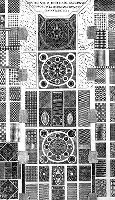 Montecassino, Disegno del pavimento della basilica di San Benedetto (da Gattola 1773), riprod. tratta da Storia dell'arte marciana: i mosaici, a cura di R. Polacco, Venezia 1997, fig. 46