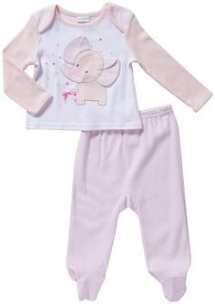Amazon.com: Absorba Baby Girls' Elephant 2 Piece Layette Set (Baby) - Pink - 3-6 Months: Clothing