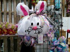 Mesh Easter Bunny Wreath
