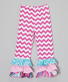 Look what I found on #zulily! Flap Happy Fuchsia Zigzag Ruffle Pants - Infant, Toddler & Girls by Flap Happy #zulilyfinds