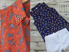 $245. www.lavidrierita.com.ar Camisas con estampado de pumitas de color coral y azul con tachas en las solapas. Exclusivos diseños ideales para combinar tu outfit de noche y de día. La Vidrierita. Elegís, comprás y te llega a tu casa!