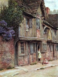 """An Old House at West Tarring"" ~by Helen Allingham (1848-1926), English Watercolour Artist ...."