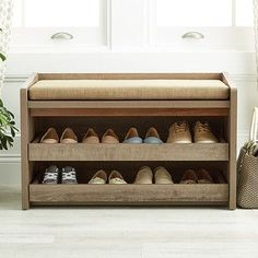 Enjoy free shipping on all purchases over $75 and free in-store pickup on the Rustic Driftwood Mercer Entryway Storage Bench at The Container Store. Add some more utility to your entryway with our beautiful and useful Mercer Storage Bench. This piece has a well padded cushion for you to sit down and lace up your shoes, and when your shoes and socks aren't in use, you can roll out its two shelves to store them out of sight!