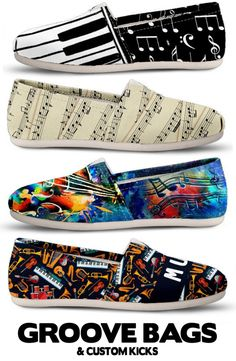 Do you play an instrument or teach music? We have the most amazing music themed designs there are! Come check out our entire collection of musical themed shoes, bags, socks and more. Find your favorite instrument or even sheet music th Look Casual, Casual Chic, Casual Shoes, Cute Shoes, Me Too Shoes, Music Shoes, Over Boots, Musician Gifts, Painted Shoes