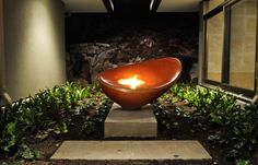 Cast-beautiful red-brown Concrete Firebowl