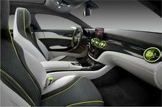 #Mercedes Concept Style Coupe -[These new pictures give us a better look of the interior as well. If you exclude the flashy accent colors and an overdose of Alcantara and carbon fiber trim, the dashboard is almost identical to that of the A-Class five-door hatchback. The only real difference we spotted is the bespoke instrument panel with the twin housing for the gauges.]