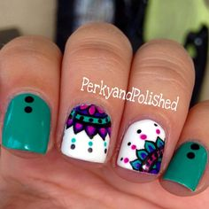 perky nail art - shared by Noel_Eclipse on We Heart It Teal Nails, Fancy Nails, Love Nails, How To Do Nails, Pretty Nails, My Nails, Creative Nail Designs, Creative Nails, Nail Art Designs