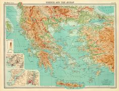 Auction House specialized in stamps, coins, banknotes, rare maps and books of Greece and many other foreign countries. Vintage Wall Art, Vintage Walls, Greece Map, Poster On, Vintage World Maps, Auction, Canvas, Antiques, Wallpaper