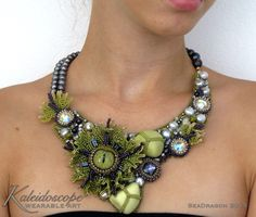 SEA DRAGON Statement Bead Embroidery Collar Yellow Green and Purple by Kaleidoscope231 on Etsy
